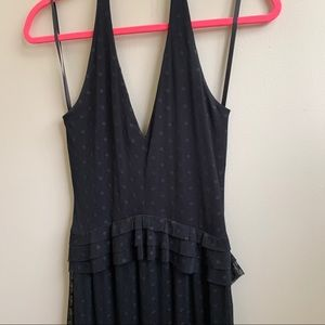 Paper Crane black halter polka dot maxi dress S